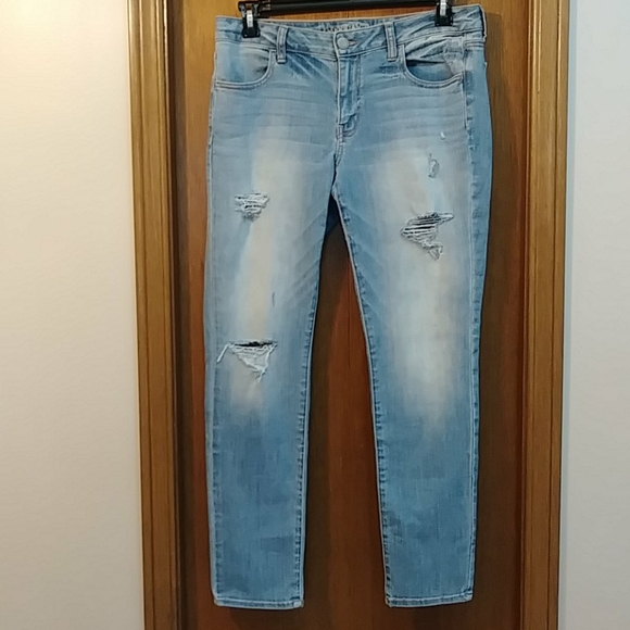 American Eagle light blue denim with rips